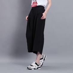 Sonne - High-Waist Linen Cropped Dress Pants