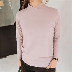JOAMOM - Mock-Neck Plain Knit Top