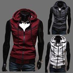 Aozora - Drawstring Hooded Zip Vest