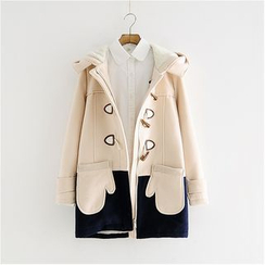 Storyland - Color-Block Hooded Buttoned Coat