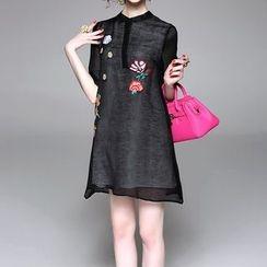 Alaroo - Embroidered Elbow-Sleeve Dress