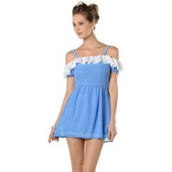 YesStyle Z - Ruffled Drop-Sleeve Chiffon Dress
