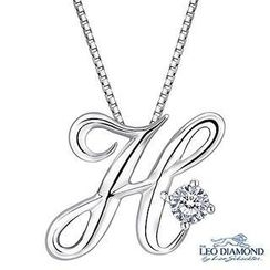 Leo Diamond - Initial Love 18K White Gold Diamond Pendant Necklace (16') - 'H'