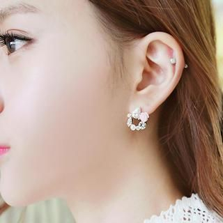 soo n soo - Crystal Circle Earrings