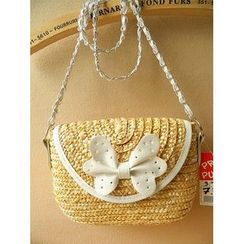 Trava - Straw Bow-accent Shoulder Bag