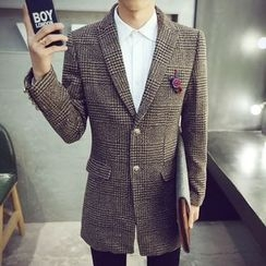Bay Go Mall - Plaid Long Notch Lapel Coat