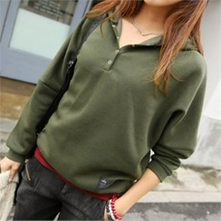 PIPPIN - Hooded Buttoned-Neck Pullover