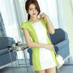 YUMU - Short-Sleeve Color Block Sheath Dress