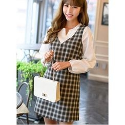 Dowisi - Set: V-Neck Long-Sleeve Blouse + Plaid Pinafore Dress
