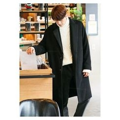 HOTBOOM - Notched-Lapel Wool Blend Long Coat