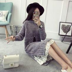 Qimi - Long-Sleeve Slit Knit Dress