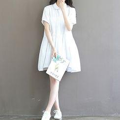 chome - Check Short-Sleeve Shirtdress