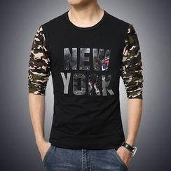 Alvicio - Camouflage Print Long Sleeve T-Shirt