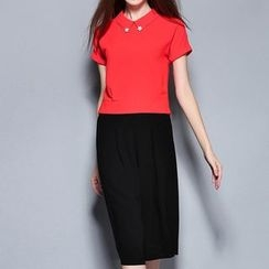 Merald - Set: Short Sleeve Blouse + Wide Leg Capri Pants