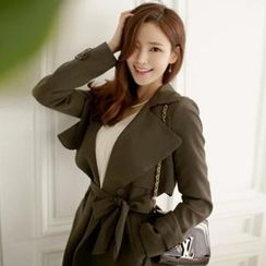 Attrangs - Flap-Front Trench Coat With Sash