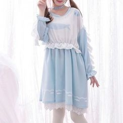 Moriville - Frilled Panel Long-Sleeve Dress