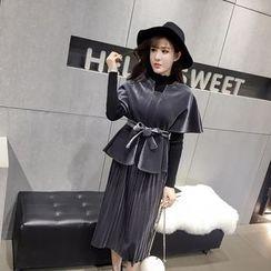 RUI - Set: Short-Sleeve Tie Waist Top + Pleated Midi Skirt