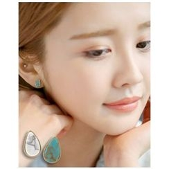 Miss21 Korea - Gemstone Teardrop Stud Earrings