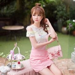 Candy Rain - Lettering Appliqué Lace Panel Cutout Shoulder Short-Sleeve T-Shirt