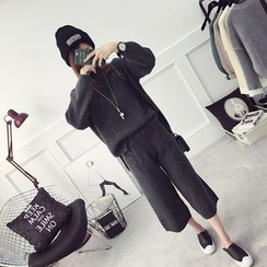 efolin - Set: Knit Pullover + Cropped Wide Leg Pants