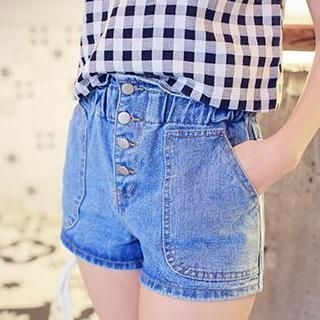 MISS BIG - High-Waist Buttoned Denim Shorts