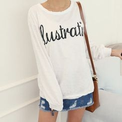 DANI LOVE - Distressed Letter Print T-Shirt