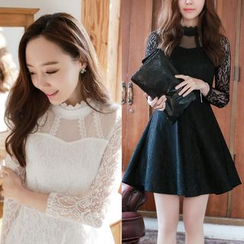 Dowisi - Long-Sleeve Lace A-Line Dress