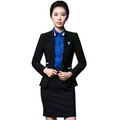 Aision - Single-Button Blazer / Blouse / Vest / Skirt
