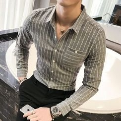 Harvin - 細條紋長袖襯衫