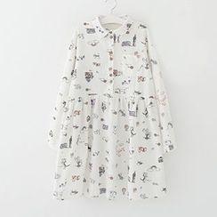 Meimei - Printed Long Sleeve Shirt Dress