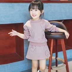 Merry Go Round - Kids Set: Applique Pullover + A-line Skirt