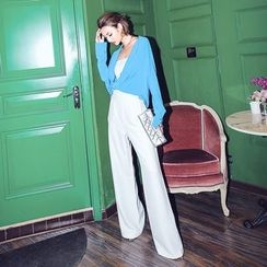 Ozawa - High-Waist Loose-Fit Plain Wide-Leg Pants