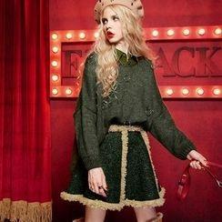 ELF SACK - Fleece-Trim A-Line Skirt