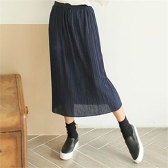 clicknme - Band-Waist Long Pleated Skirt