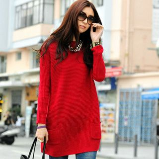 59 Seconds - Pocket-Front Sweater Dress