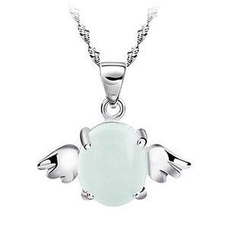 BELEC - 925 Sterling Silver angel  Pendant with white opal and 40cm Necklace