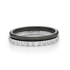 Kenny & co. - Double Ring with IP Black Steel & Crystal
