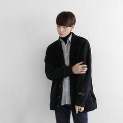 Seoul Homme - V-Neck Drop-Shoulder Cardigan