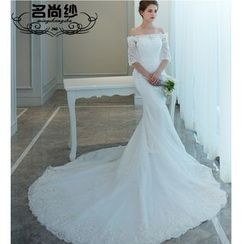 MSSBridal - Lace Panel Wedding Gown
