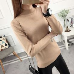 anzoveve - Mock Neck Long-Sleeve Knit Top