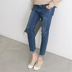 PEPER - Band-Waist Straight-Cut Jeans
