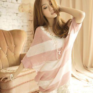 Tokyo Fashion - Dolman-Sleeve Striped Knit Top