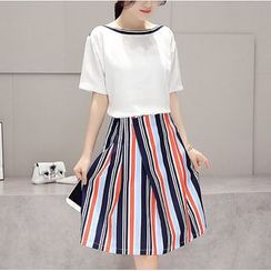 Dowisi - Set: Short Sleeve Boat Neck Top + Striped A-Line Skirt