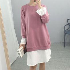 Carabecca - Long-Sleeve Mock Two Piece Dress