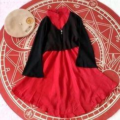 Rega - Mock Two Piece Color Panel Long Sleeve Dress