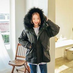 Seoul Fashion - Faux-Fur Hooded Coral-Fleece Lined Parka