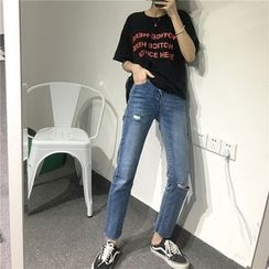 Jeans Kingdom - Ripped Straight Fit Jeans