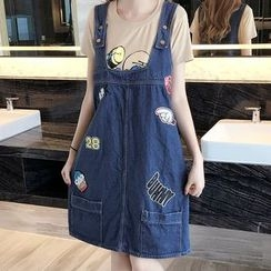 Iscat - Patched Denim Pinafore Dress