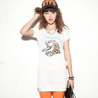 CUTIE FASHION - Short-Sleeve Cheetah-Print Long T-Shirt