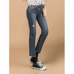 LOLOten - Distressed Washed Straight-Cut Jeans